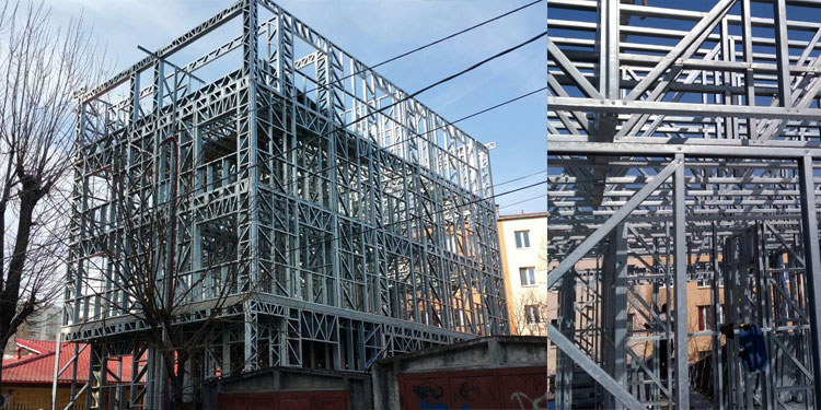 Montaj structura metalica proiect de casa 528mp in Titan